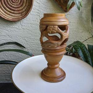 Vintage Carved Wood Vase Leaf Cut-out Home Decor